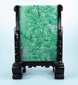 Chinese Carved Jade Plaque Table Screen Dragon