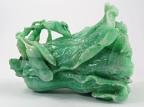 Vintage Chinese carved jade cabbage peapod sculpture