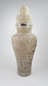 19C Chinese carved jade urn, vase with cover