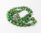 Chinese Genuine Jade Bead Necklace Silver Clasp