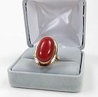 Vintage 14k gold Mediterranean oxblood coral ring