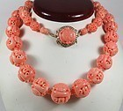Chinese carved Coral necklace 14k gold diamond clasp