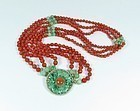 Chinese 14k Gold Carved Jade & Red Coral Bead Necklace