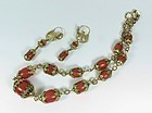 Etruscan 18k Gold Salmon Coral Necklace Earrings Set