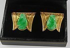 Art Deco 18k/14k gold carved jade Buddha cufflinks