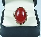 Vintage 14k gold red oxblood coral diamond ring