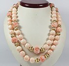 Vintage large 14k gold Angel Skin Coral bead necklace