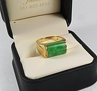 14k gold apple green Jade saddle ring signed Stern