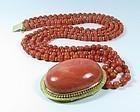 18k gold salmon pink coral necklace huge clasp 108 gram