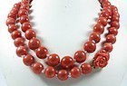 "37"" long  genuine red coral bead necklace 148.3 grams"