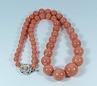 Large genuine salmon color coral bead necklace
