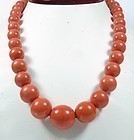 Large genuine tomato red coral bead necklace