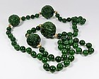 Chinese Genuine Carved Nephrite Jade Bead Necklace