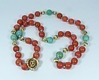 14k Gold Red Coral & Turquoise Bead Necklace