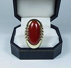 Large 14k gold genuine oxblood coral ring