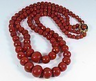 18k gold genuine Sardinian red, oxblood coral necklace
