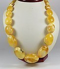 Egg Yolk Butterscotch Amber Bead Necklace 75 Grams