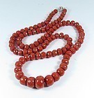 14k gold Mediterranean red coral bead necklace 104 g.
