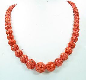 Chinese Carved Salmon Color Coral Bead Necklace