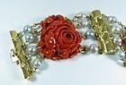 Estate 18k gold Seaman Schepps Coral Pearl bracelet