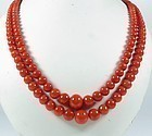 2 Strand Red Coral Graduate Bead Necklace 63 Gr