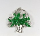 Art Deco Platinum Diamond Jadeite Jade Brooch Pin