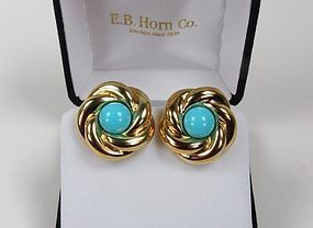 Modern designer Effedue 18k gold turquoise earrings
