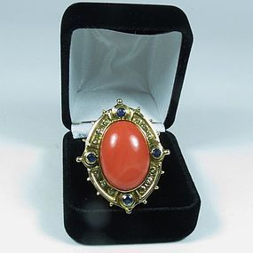 Huge 18k gold salmon coral diamond topaz ring