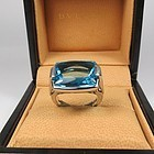 Bulgari 18k white gold blue Topaz ring with box