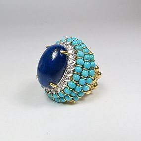 18k Gold Lapis Lazuli Diamond Turquoise Dome Ring
