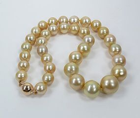 Elegant 14k Gold South Sea Pearl Bead Necklace