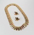 14k gold chevron necklace earrings set Wordly Allsopp
