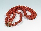 14k Gold 2 Strand Genuine Momo Coral Bead Necklace