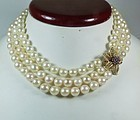 3 strand pearl necklace with 14k gold ruby clasp