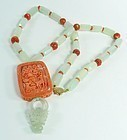14K Gold White Jade Carved Coral Bead Necklace