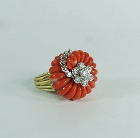 18k Gold Carved Coral 1.5Ct Diamond Ring
