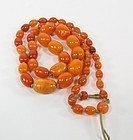 Antique Chinese butterscotch amber bead necklace