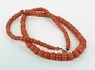 Large antique salmon color coral bead necklace