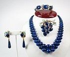 14k gold Lapis lazuli & carved emerald 4 pc suite