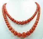 Antique 2 strand Mediterranean coral bead necklace