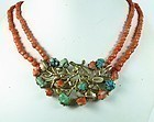 Antique Chinese vermeil silver coral turquoise necklace