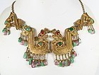 Chinese Qing Dynasty silver tourmaline jade necklace
