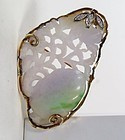 Chinese 14k gold carved lavender jade pendant pin