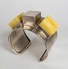 Modern sterling silver butterscotch amber bracelet