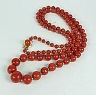 Retro 14k gold genuine oxblood coral bead necklace
