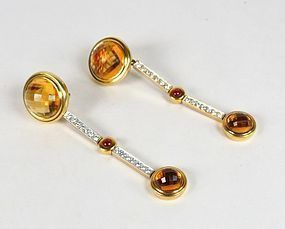 Antonini 18k gold citrine ruby diamond earrings