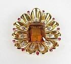 Large 18k gold citrine ruby diamond brooch fur clip