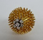 Large designer 18k gold diamond sea urchin ring
