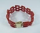 Art Deco vermeil silver natural oxblood coral bracelet