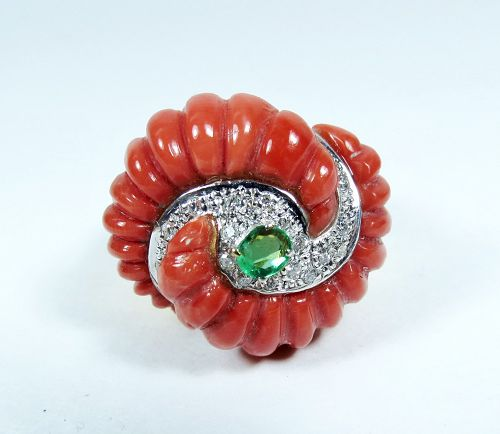 Huge 14k gold carved coral diamond emerald ring
